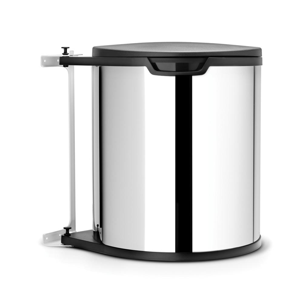 Avfallshink för bänkskåp rund plastinnerhink (inkl fästen) 15 L Blankborstat Stål