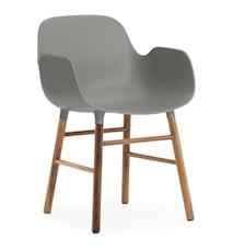 Form Stol med armlene valnøtt - grå