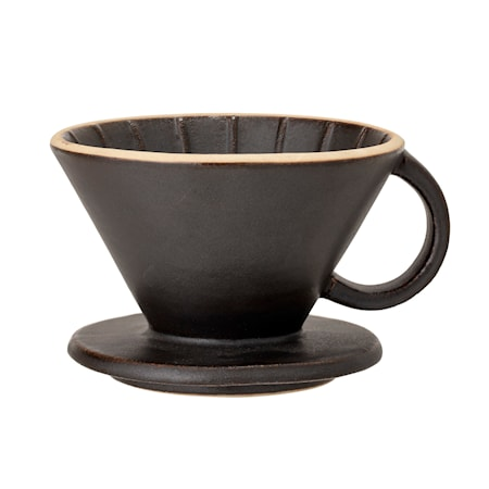 Leah Coffee Dripper, Sort, Stoneware
