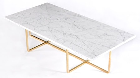OX DENMARQ Ninety Table XL - Carrara marmor/mässingsstomme H30 cm