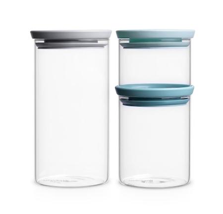 Glasburk Stapelbar Set om 3 (0.3, 0.7 och 1.1 Ltr) Glas/ Lock: Grått,Mörk Grått samt Mint