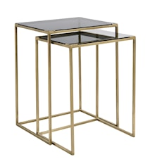 Sofabord kvadratiskt 2stk - Sort/Messing