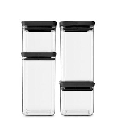 4 stk Firkantede Oppbevaringsbokser 2x0,7 L 2x1.6 L