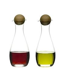 Bouteilles huile/vinaigre Oval Oak bouchon en chêne lot de 2