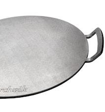 Pizzaplade i stål med håndtag, til grill og ovn
