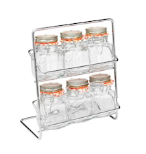 Pisa 6 Spice Shelf with Kilner-Jars Chrome