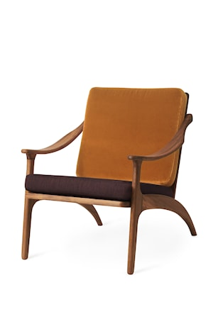 Lean Back Lounge Chair Amber velvet/Coffee brown Teak