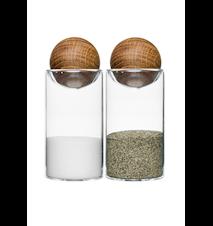 Oval oak salt- & peppersett