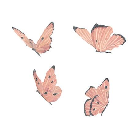Väggdekoration Butterflies 4-pack Rose