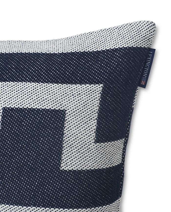 Graphic Recycled Kuddfodral Off white/Mörkblå 50x50cm