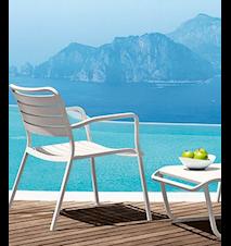 Ocean lounge stol m. armstöd - Vit