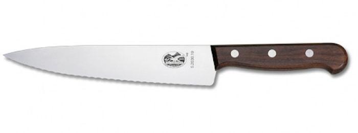 Kokkekniv, bølgetakket, 25 cm, palisander