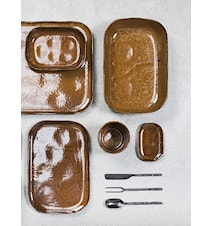 Merci rektangulær tallerken N°4 S - brun