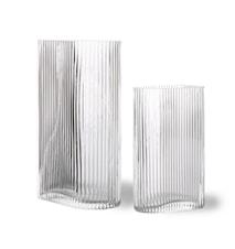 Clear Ribbed Vazen set van 2