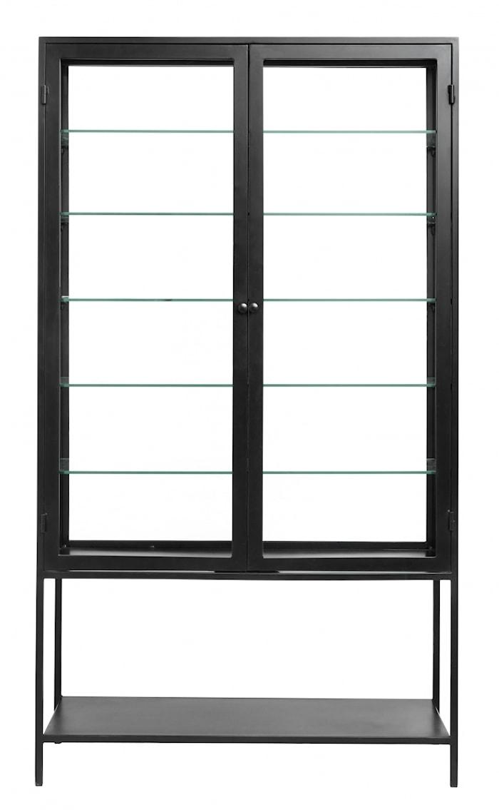 MONDO Vitrineskap Jern/Glass Svart 198x112cm