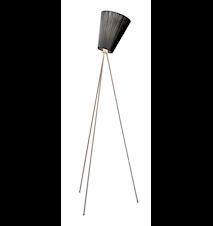 Oslo Wood golvlampa – Svart skärm/Stål fot
