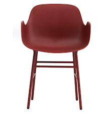 Form Stol med armlene stål - Rød