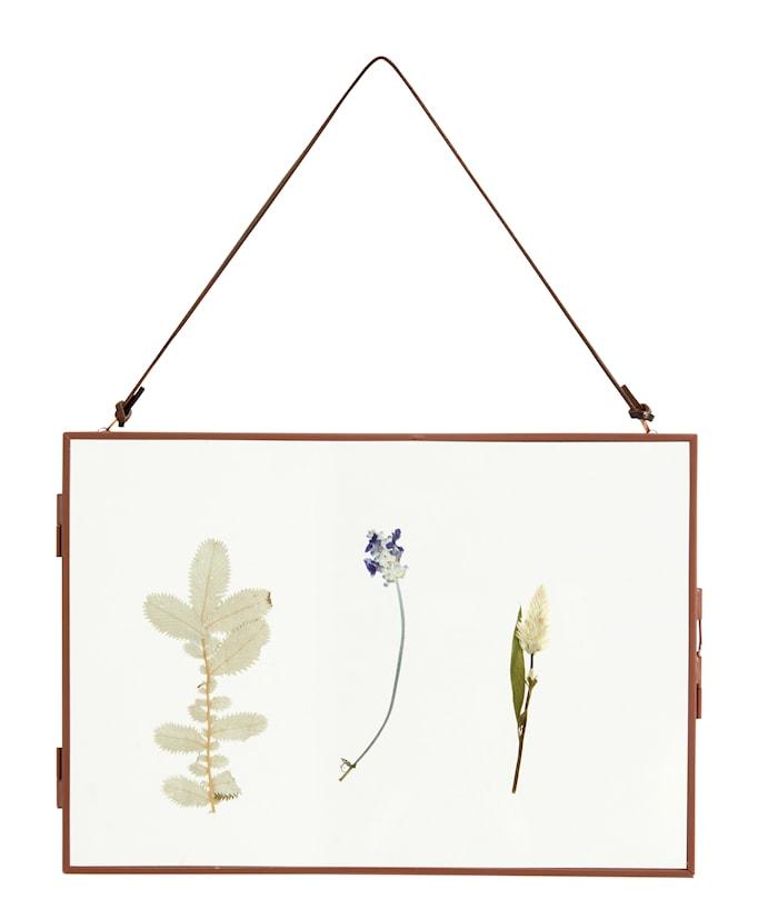 Meta Ram med Torkade blommor Horizontal Mörkröd