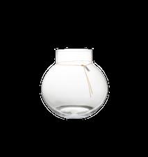 Rund glasvas med läderband - 37 cm
