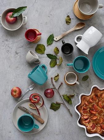 Höganäs Keramik Espressokop + træunderkop 10 cl kiselgrå blank