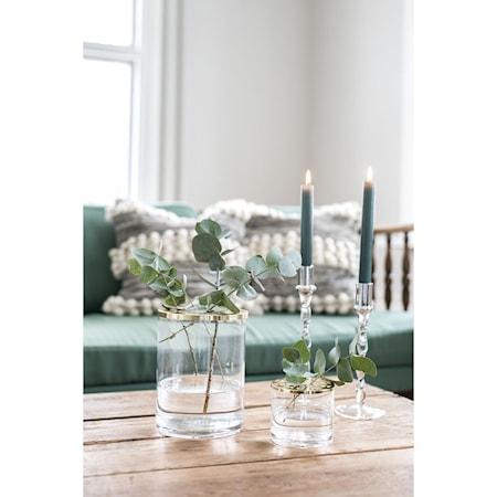 Vase klarglas 2 stk låg krom og messing 10*9 cm