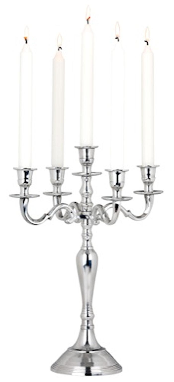 Kynttelikkö alumiini 5-haarainen, korkeus 40 cm