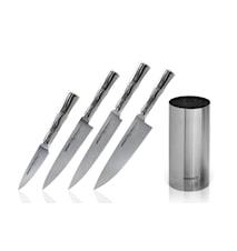 BAMBOO Knivset 4 knivar + Knivblock