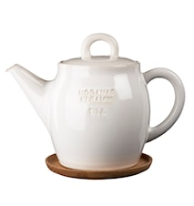 Teapot 1,5 L with Wooden Saucer White Blank