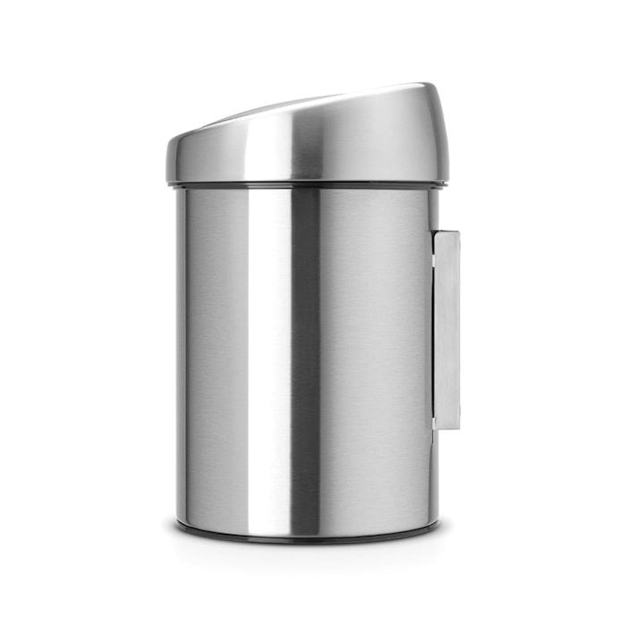 Touch Bin (til væg ), plastinderspand 3 L Matbørstet Stål