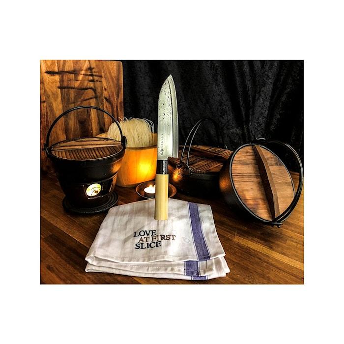 Houcho Veitsisetti 2 osaa kuorimaveitsi & santoku balsapuu-laatikossa