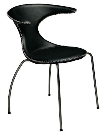 Flair stol – Svart konstläder, svarta ben
