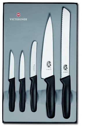 Køkkenknivsæt, 5 dele med sort plasthåndtag, gaveæske