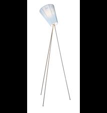 Oslo Wood gulvlampe – Lyseblå skærm/Stål fod
