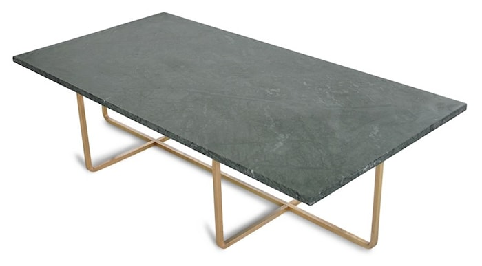 Ninety Table XL - Grønn marmor/messingstomme H30 cm