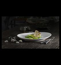Plissé Oval Steaktallerken 29,5 cm Hvid