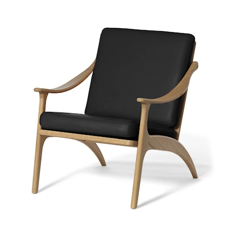Lean Back Lounge Chair Svart Läder, Ek