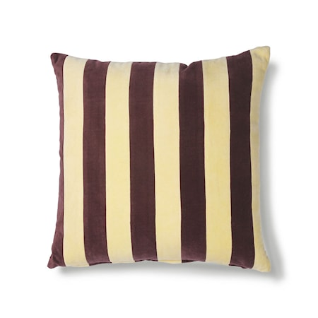 Striped Cushion Velvet yellow/Purple 50x50 cm