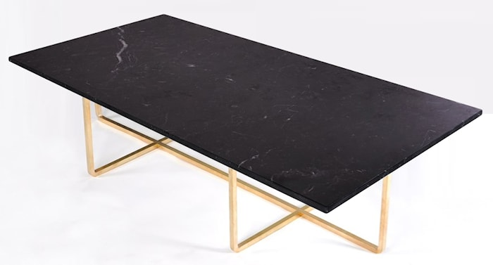 Ninety Table XL - Svart marmor/mässingstomme H40 cm