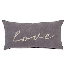 Cuscino in cotone grigio 55x30cm