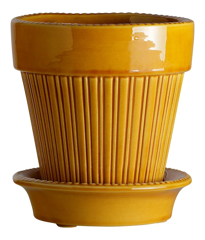 Simona Kruka med fat Glazed Yellow Amber 14 cm