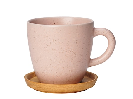 Höganäs Keramik kaffemugg 33 cl med träfat vildros