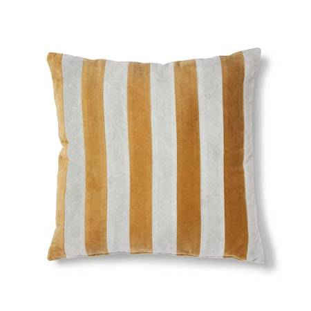 Striped Cushion Velvet Grey/Gold 50x50 cm