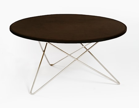 O-table leather soffbord – Mocca/stainless