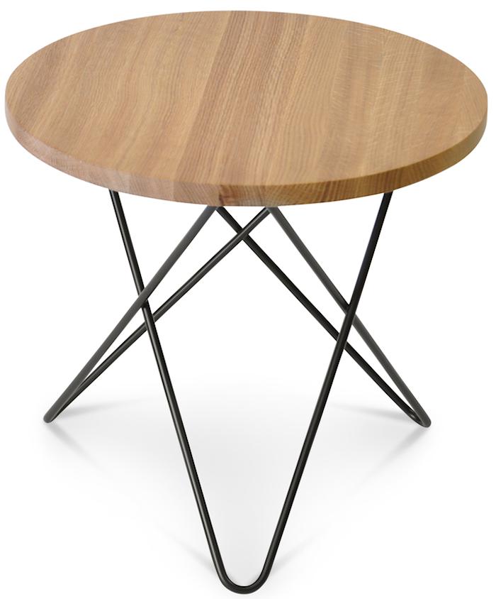 Mini O table wood Oak black frame