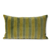 Striped Velvet Cushion Green/camo 30x50 cm