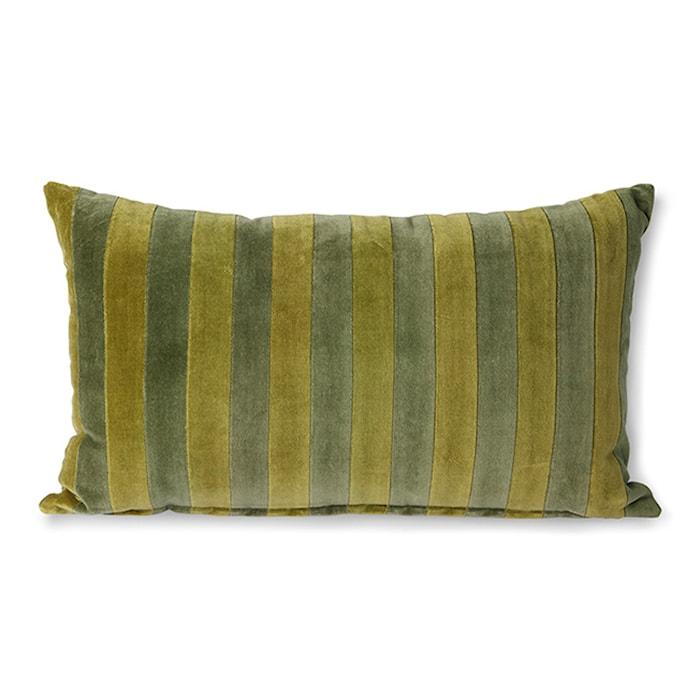 Striped Velvet Cushion Green/camo 30x50 cm