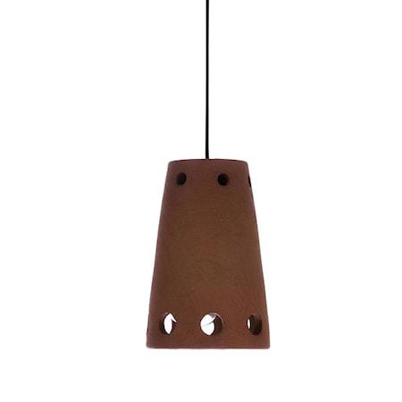 Chulucanas Terracotta Taklampe Brun 15,5 cm