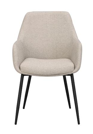 Reily karmstol beige tyg/svarta metall ben