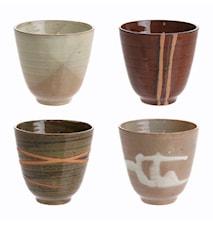 Japanske Keramikkopper Multicolor (Set of 4)
