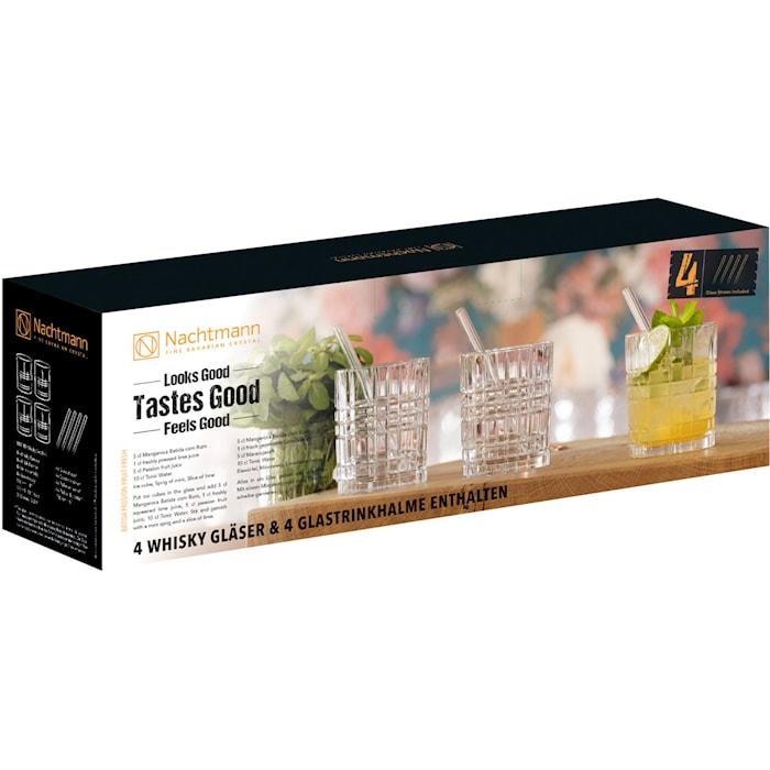 Feel Good Tumbler Glas 34 cl 4-pack + Sugrör